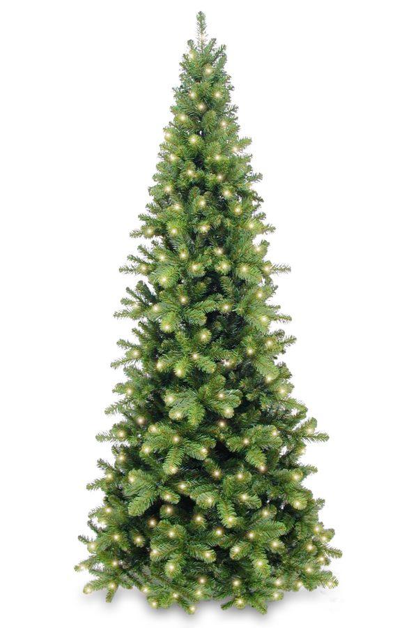 6ft Pencil Pine Christmas Tree Hinged Pre Lit 1.83m