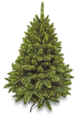 6ft Pitch Pine Christmas Tree Green 1.83m Hinged with 320 LED's